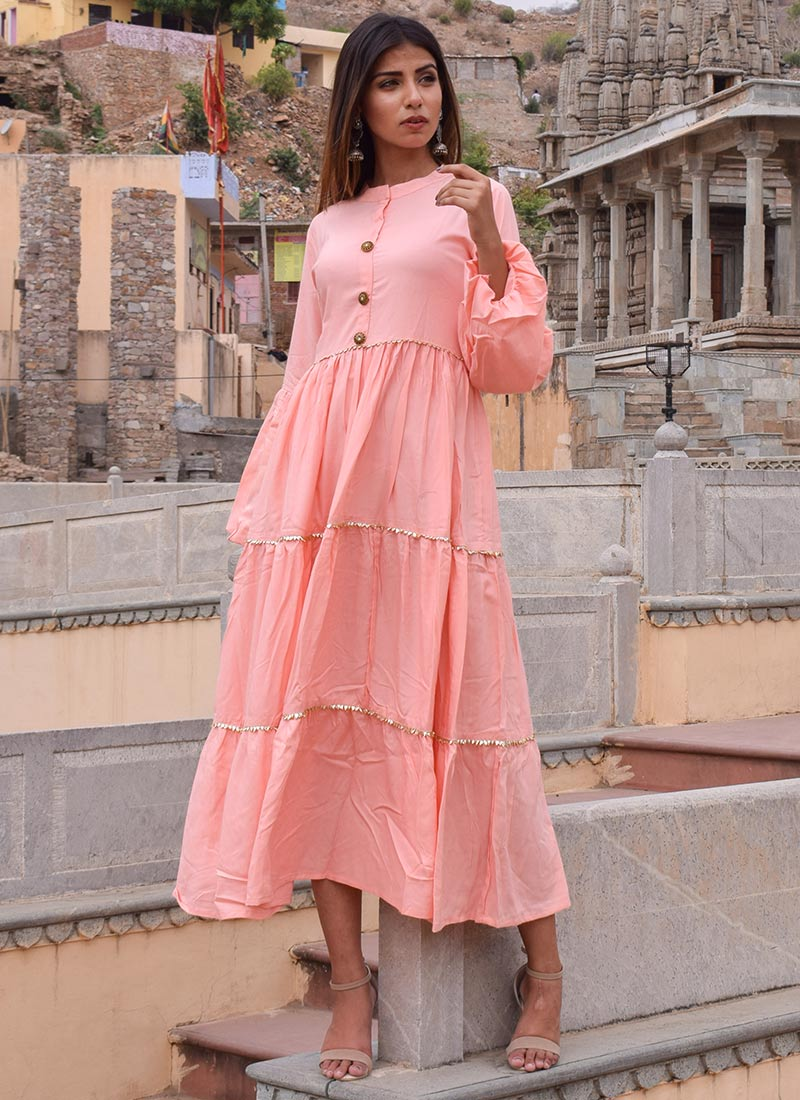 Buy Light Pink Plain Indowestern Dress, After Six, dresses and gown ...