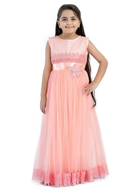 Light Pink Polyester Net Girls Gown