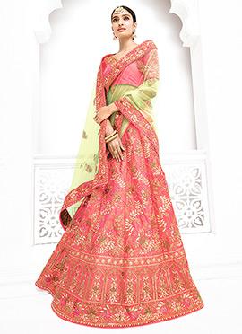 Light Pink Pure Benarasi Silk A Line Lehenga