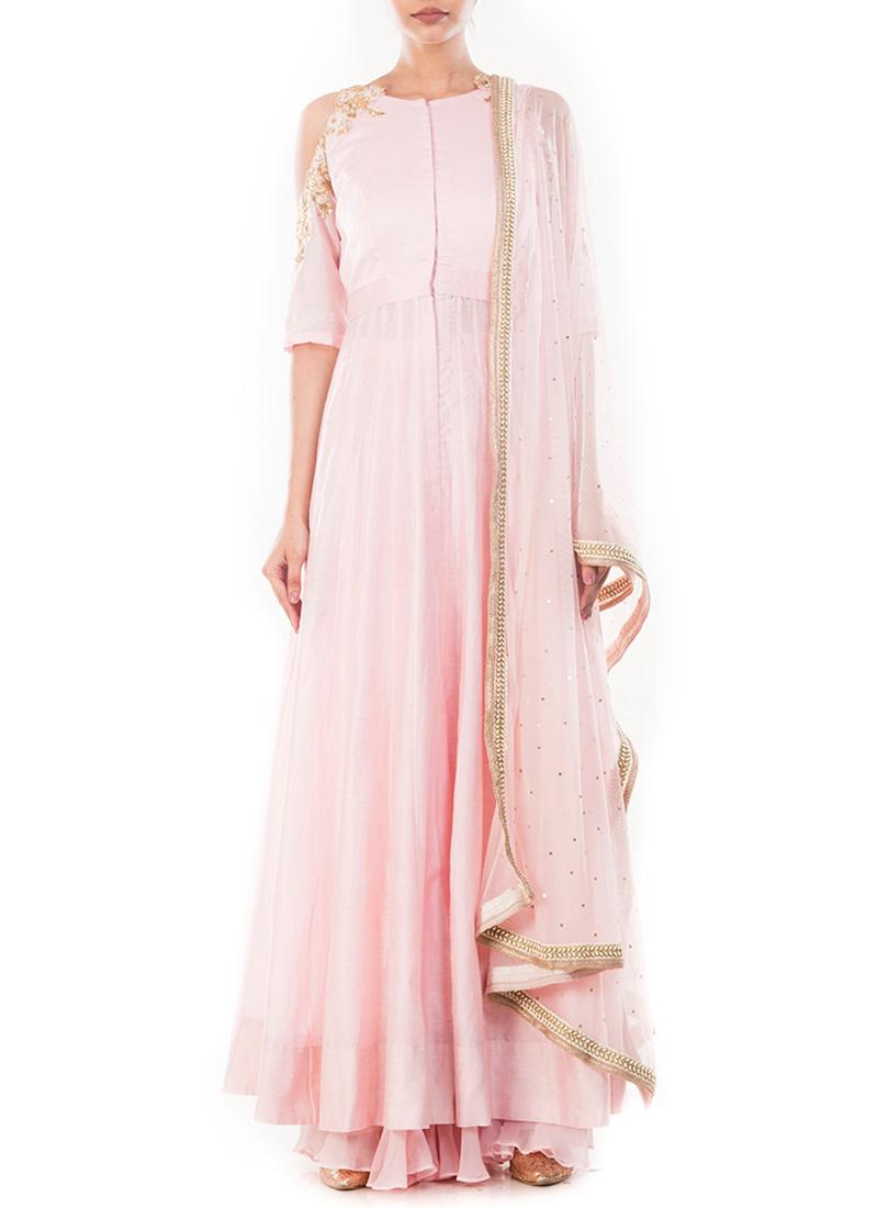 d55074377d Buy Light Pink Pure Chanderi Cotton Anarkali Suit, Zardosi, anarkali ...