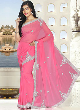 Light Pink Pure Georgette Saree