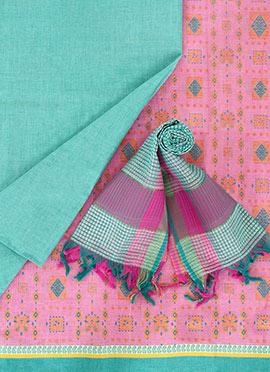 Light Pink Pure Handloom Cotton Dress Material