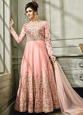 Light Pink Satin Silk Anarkali Gown