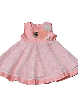 Light Pink Taffeta Silk Net Kids Dress
