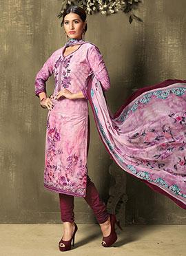 Light Purple Cotton Churidar Suit