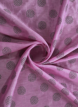 Light Purple Foil Printed Silky Linen Fabric