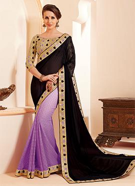 Light Purple N Black Half N Half Saree