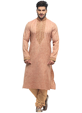Light Rust Jacquard Kurta Pyjama