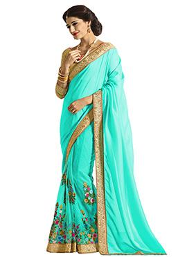 Light Turquoise Half N Half Saree