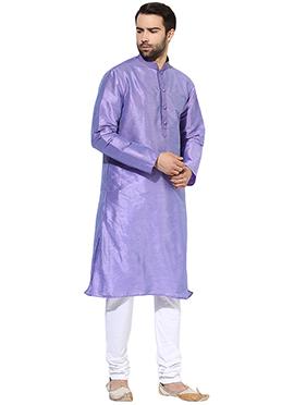 Light Violet Art Dupion Silk Kurta Pyjama
