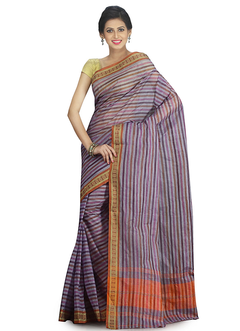 1c02fdf8fd Buy Light Violet Cotton Tant Saree, Handloom , Bengal Handloom ...