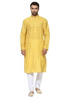 Light Yellow Art Dupion Silk Kurta