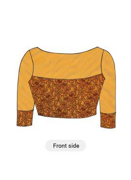 Light Yellow Art Silk Brocade Blouse with Buttercup Net sleeves