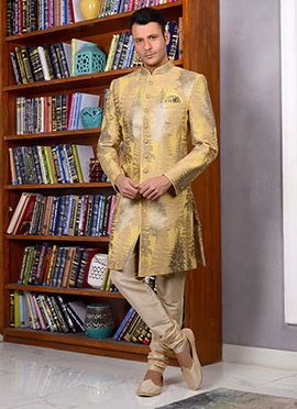 Light Yellow Art Silk Indowestern Sherwani