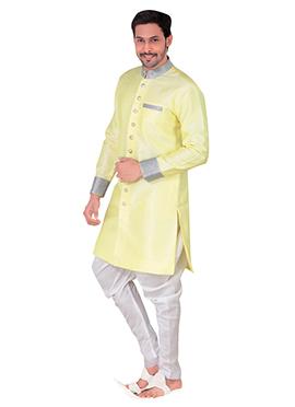 Light Yellow Benarasi Silk Achkan Sherwani