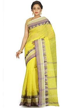 Light Yellow Bengal Handloom Tant Saree