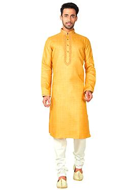 Light Yellow Blended Cotton Kurta Pyjama