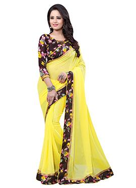 Light Yellow georgette Printed Border Saree