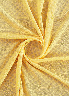 Light Yellow Chikankari Fabric