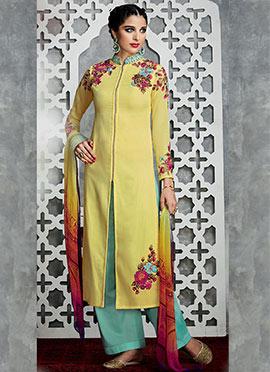 Light Yellow Cotton Palazzo Suit