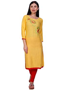 Light Yellow Cotton Rayon Kurti