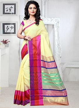 Light Yellow Cotton Silk Saree