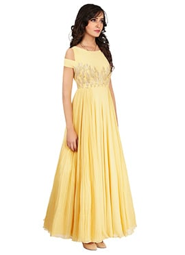 Light Yellow Crepe Gown