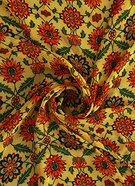 Light Yellow Digital Printed Georgette Fabric