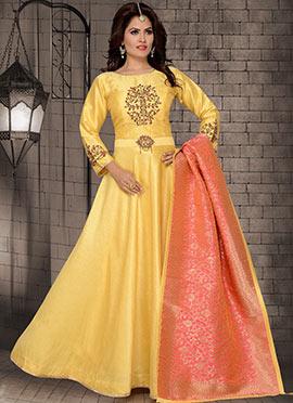 Light Yellow Embroidered Abaya Style Anarkali Suit
