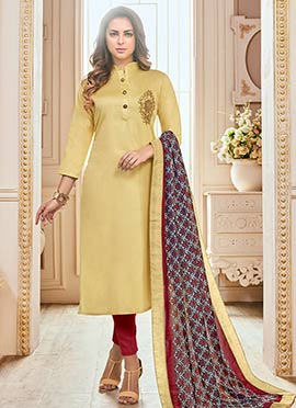 Light Yellow Embroidered Churidar Suit
