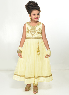 Light Yellow Kids Net Anarkali Suit