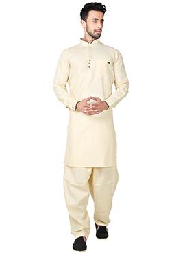 Light Yellow Linen Cotton Pathani Set