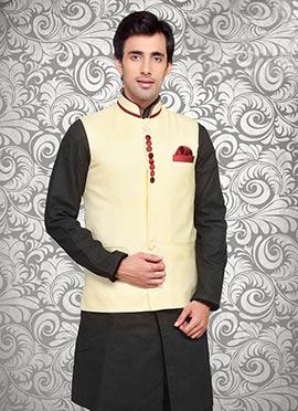 Light Yellow Linen Nehru Jacket