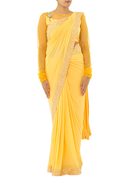 Light Yellow Lycra Net Saree