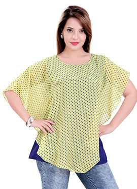 Light Yellow N Navy Blue Short Kurti