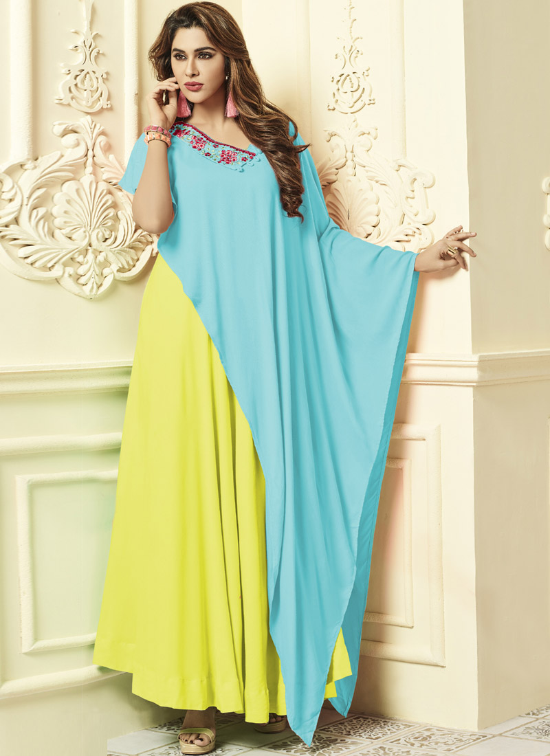4526c710598 Buy Light Yellow N Sky Blue Embroidered Gown