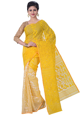 Light Yellow N Yellow Jamdani Half N Half Saree
