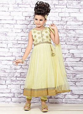 Light Yellow Net Kids Anarkali Suit