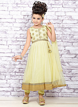 Light Yellow Net Teens Anarkali Suit