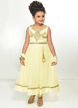 Light Yellow Net Teens Anarkali Suit