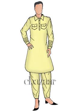 Light Yellow Plain Pathani Set