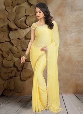 Light Yellow Pure Satin Chiffon Saree