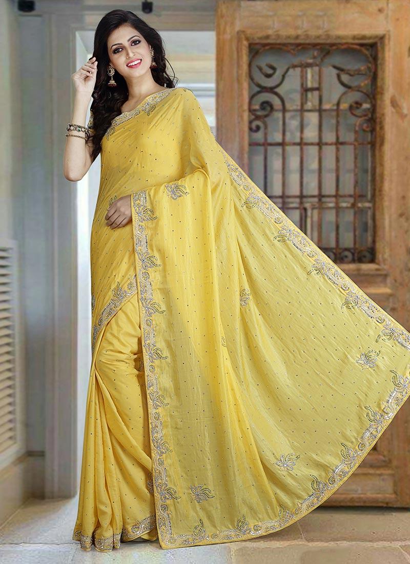 c2284fd1b8ce46 Buy Light Yellow Pure Silk Saree, Stones , Embroidered, sari Online ...
