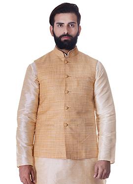 Ligth Orange Art Silk Nehru Jacket