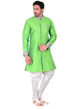 Lime Green Benarasi Art Silk Achkan Sherwani