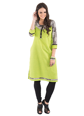Lime Green Blended Cotton Kurti