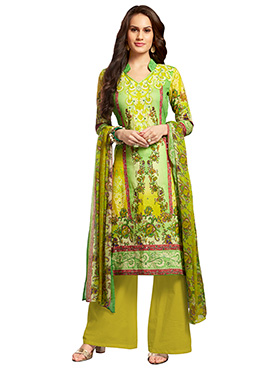Lime Green Blended Cotton Palazzo Suit