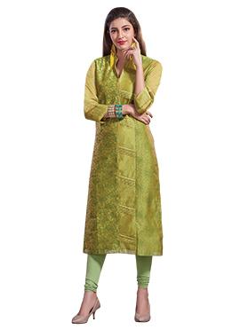 Lime Green Chanderi Art Silk Churidar Suit