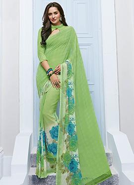 Lime Green Chiffon Floral Pattern Printed Saree