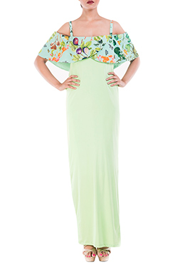 Lime Green Crepe Cape Dress